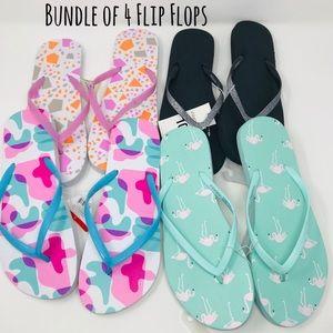 Women's Mixed Bundle of 4 Size 10 Flip Flops
